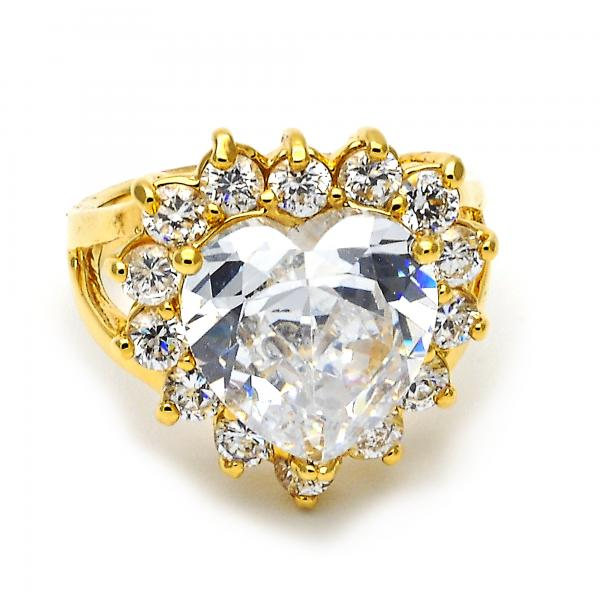 Gold Layered Multi Stone Ring, Heart and Cluster Design, with Cubic Zirconia, Golden Tone