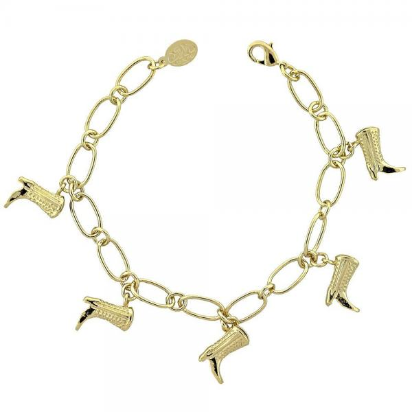 Gold Layered 5.022.008 Charm Bracelet, Shoes Design, Golden Tone