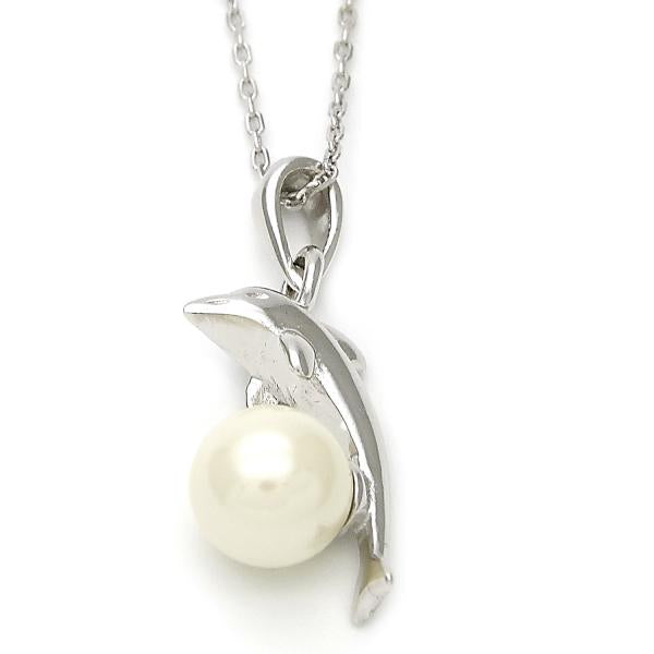 Sterling Silver 10.174.0139.18 Fancy Necklace, Dolphin Design, with Ivory Pearl, Polished Finish, Silver Tone