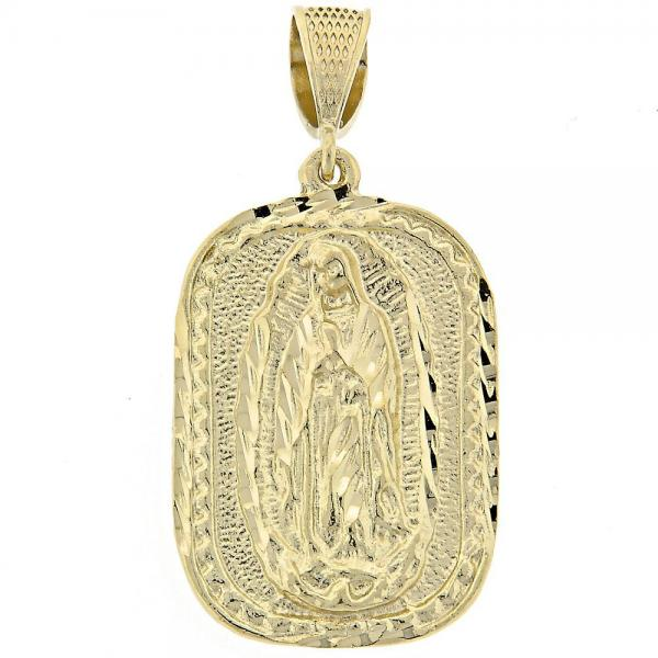 Gold Layered 5.185.005 Religious Pendant, Guadalupe Design, Polished Finish, Golden Tone