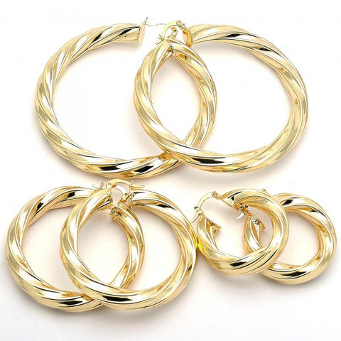 Gold Layered Medium Hoop, Twist and Hollow Design, Golden Tone