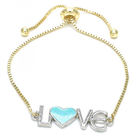 Gold Layered 03.63.1859.10 Fancy Bracelet, Love and Heart Design, Turquoise Enamel Finish, Two Tone