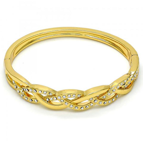 Gold Tone 07.252.0020.05.GT Individual Bangle, with White Crystal, Polished Finish, Golden Tone (05 MM Thickness, Size 5 - 2.50 Diameter)