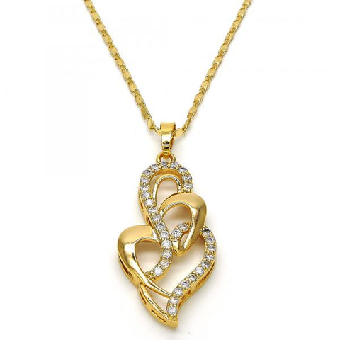 Gold Layered 04.304.0001.18 Fancy Necklace, Heart Design, with White Cubic Zirconia, Polished Finish, Golden Tone