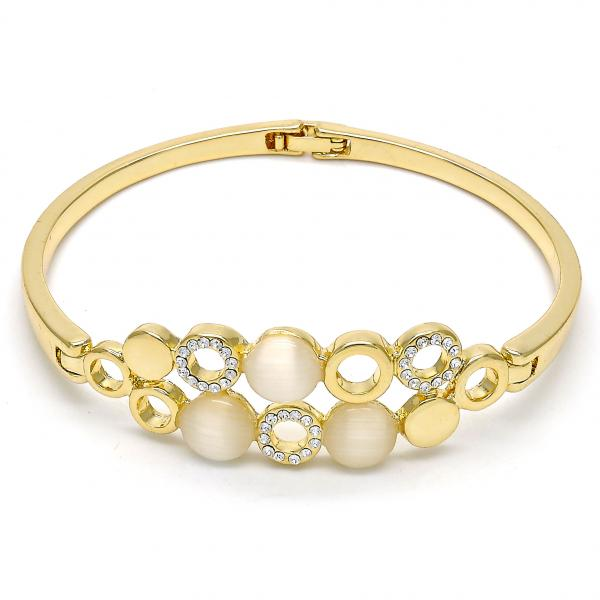 Gold Layered Individual Bangle, with Opal and Crystal, Golden Tone