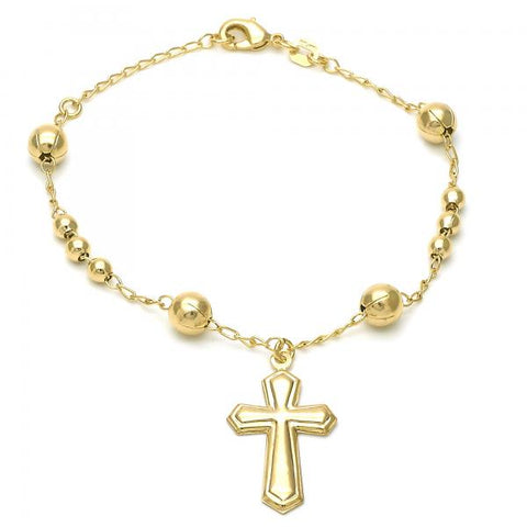 Gold Layered 5.213.013.08 Bracelet Rosary, Cross Design, Polished Finish, Golden Tone