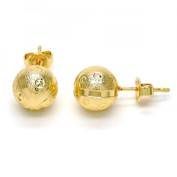 Gold Layered 02.100.0059 Stud Earring, Matte Finish, Golden Tone