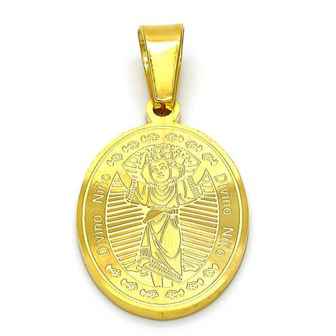 Stainless Steel 05.300.0001 Religious Pendant, Divino Niño Design, Polished Finish, Golden Tone