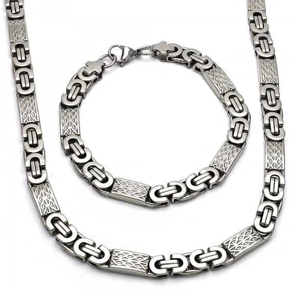 Stainless Steel 06.116.0007 Necklace and Bracelet, Polished Finish, Steel Tone