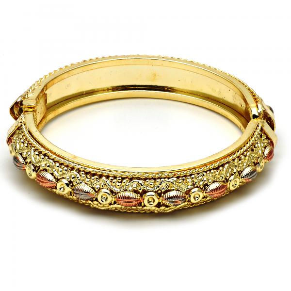 Gold Plated 07.54.0012 Individual Bangle, Diamond Cutting Finish, Tri Tone (02 MM Thickness, Size 6 - 2.75 Diameter)