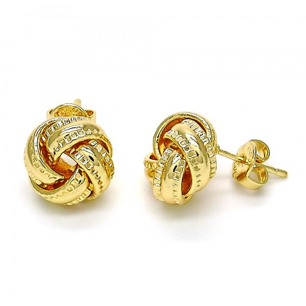 Gold Layered 02.63.2372 Stud Earring, Love Knot Design, Diamond Cutting Finish, Golden Tone