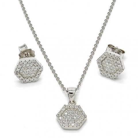 Sterling Silver 10.174.0258 Earring and Pendant Adult Set, with White Micro Pave, Polished Finish, Rhodium Tone