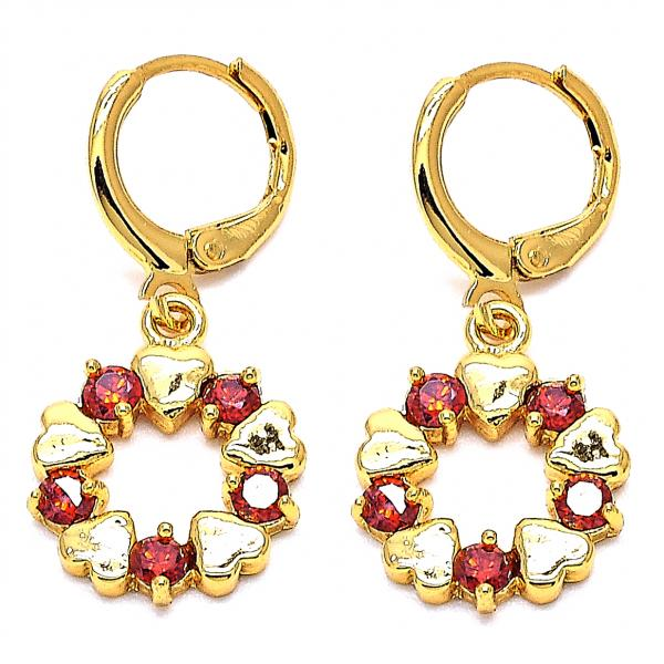 Gold Layered 02.205.0001 Long Earring, Heart Design, with Garnet Cubic Zirconia, Golden Tone