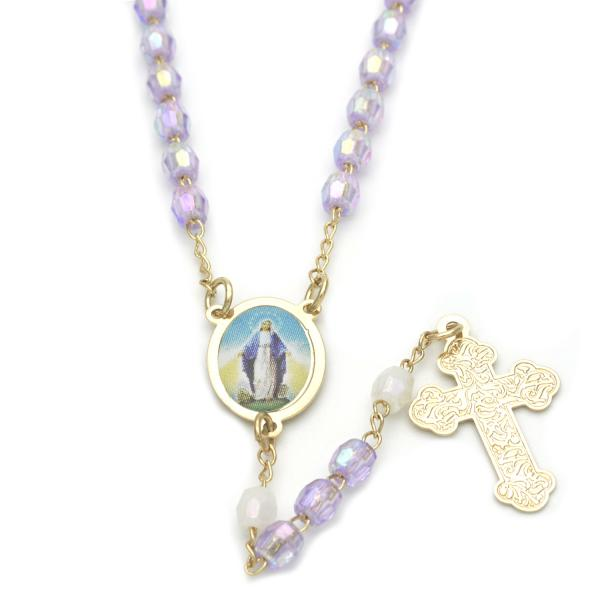 Gold Layered 09.02.0025.18 Thin Rosary, Medalla Milagrosa and Cross Design, with Lavender Crystal, Polished Finish, Golden Tone