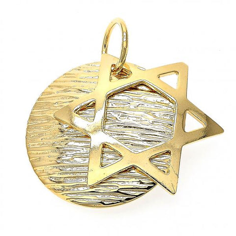 Gold Layered 05.32.0024 Religious Pendant, Hand of God Design, Diamond Cutting Finish, Golden Tone