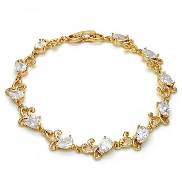 Gold Layered 03.213.0040.08 Tennis Bracelet, Teardrop Design, with White Cubic Zirconia, Polished Finish, Golden Tone