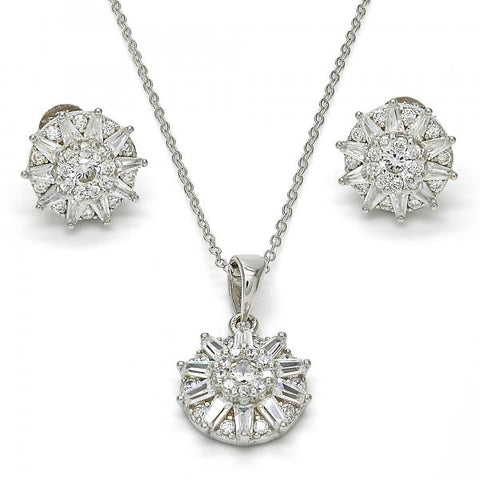 Sterling Silver 10.286.0007 Earring and Pendant Adult Set, Flower Design, with White Cubic Zirconia, Polished Finish, Rhodium Tone