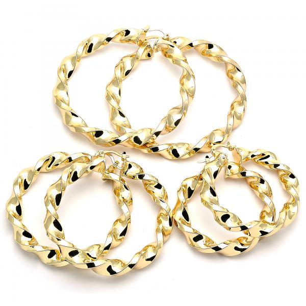 Gold Layered Large Hoop, Twist and Hollow Design, Golden Tone