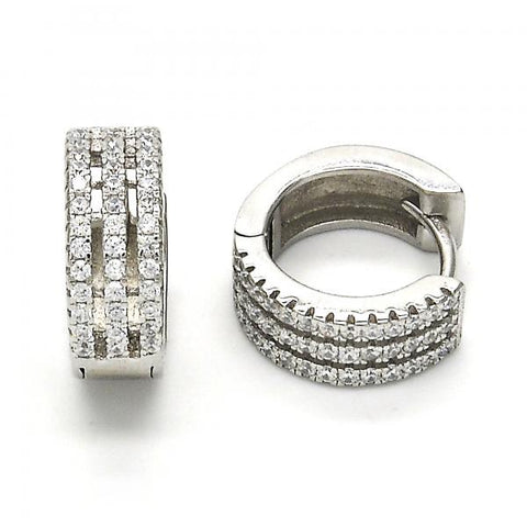 Sterling Silver 02.175.0073.15 Huggie Hoop, with White Crystal, Polished Finish, Rhodium Tone