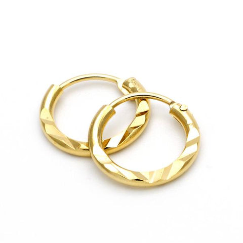 Gold Layered 5.159.102.1 Children Hoop, Diamond Cutting Finish, Golden Tone