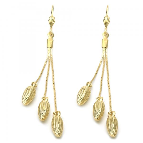 Gold Layered 5.092.006 Long Earring, Corn Design, Golden Tone
