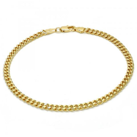 Gold Layered 04.63.1359.10 Basic Anklet, Miami Cuban Design, Polished Finish, Golden Tone