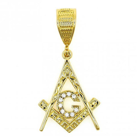 Gold Layered 5.187.018 Religious Pendant, Star of David Design, with White Cubic Zirconia, Polished Finish, Golden Tone