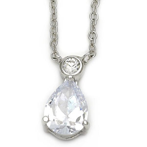 Sterling Silver 10.174.0159.18 Fancy Necklace, Teardrop Design, with White Cubic Zirconia, Polished Finish, Silver Tone
