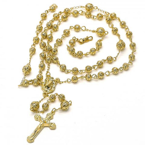 Gold Layered 5.210.007 Large Rosary, Crucifix and Jesus Design, Diamond Cutting Finish, Golden Tone