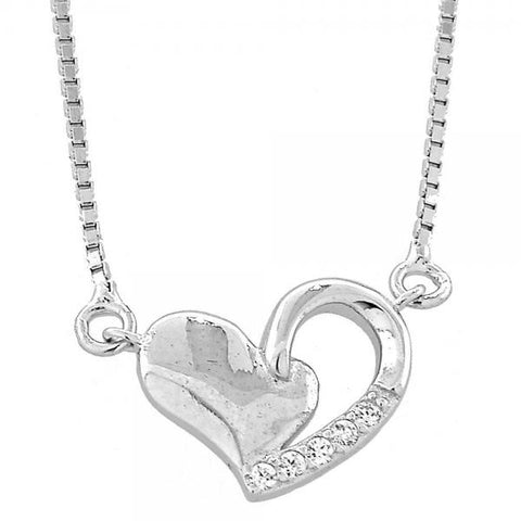 Sterling Silver 04.176.0008.18 Fancy Necklace, Heart and Box Design, with White Micro Pave, Polished Finish, Rhodium Tone