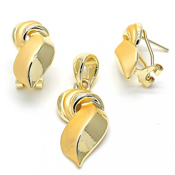 Gold Layered 10.59.0178 Earring and Pendant Adult Set, Matte Finish, Golden Tone