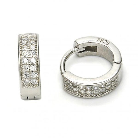 Sterling Silver 02.175.0076.10 Huggie Hoop, with White Micro Pave, Polished Finish, Rhodium Tone