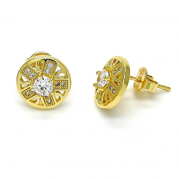 Gold Layered 02.155.0008 Stud Earring, with White Micro Pave and White Cubic Zirconia, Polished Finish, Gold Tone