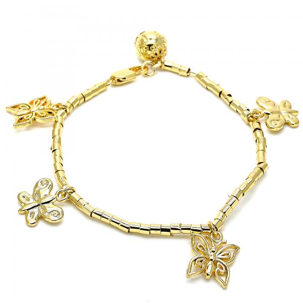Gold Layered 03.179.0062.07 Charm Bracelet, Butterfly Design, Polished Finish, Golden Tone