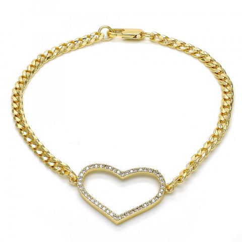 Gold Layered 03.94.0001.08 Fancy Bracelet, Heart Design, with White Micro Pave, Polished Finish, Golden Tone