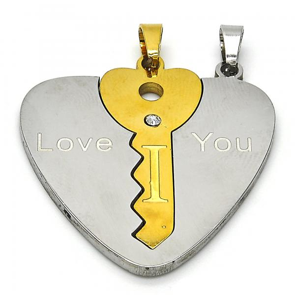 Stainless Steel 05.116.0045 Fancy Pendant, Heart and key Design, with White Crystal, Polished Finish, Two Tone