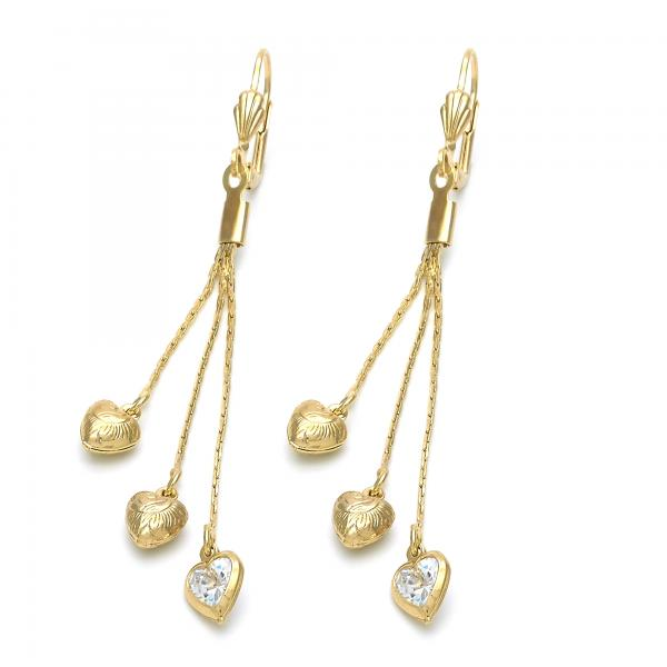Gold Layered 5.111.011 Long Earring, Heart Design, with  Cubic Zirconia, Golden Tone