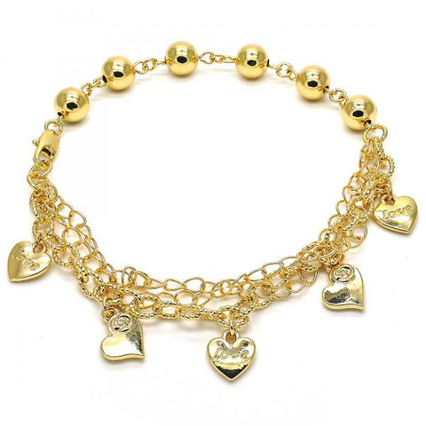 Gold Layered 03.179.0047.10 Charm Anklet , Heart and Love Design, Polished Finish, Golden Tone