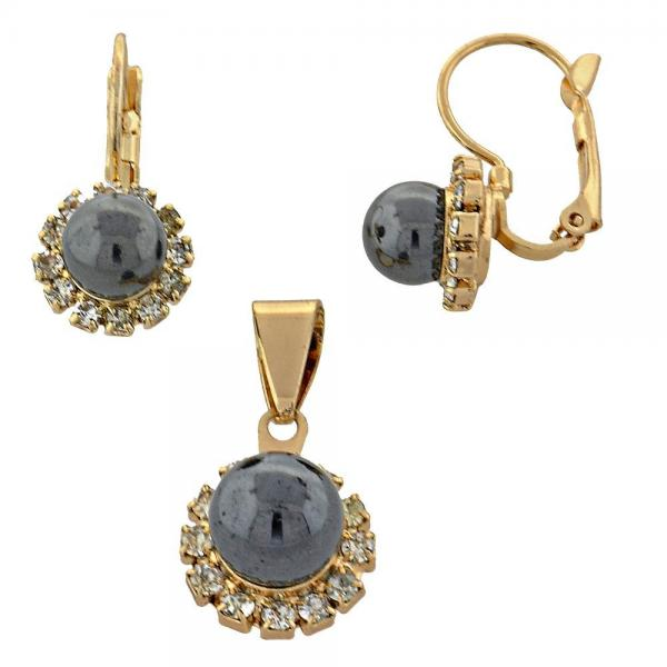 Gold Layered 10.150.0027 Earring and Pendant Adult Set, Ball Design, with  Pearl, Golden Tone