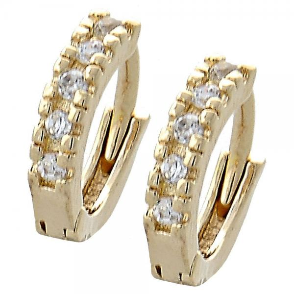 Gold Layered 02.155.0037 Huggie Hoop, with White Cubic Zirconia, Polished Finish, Golden Tone