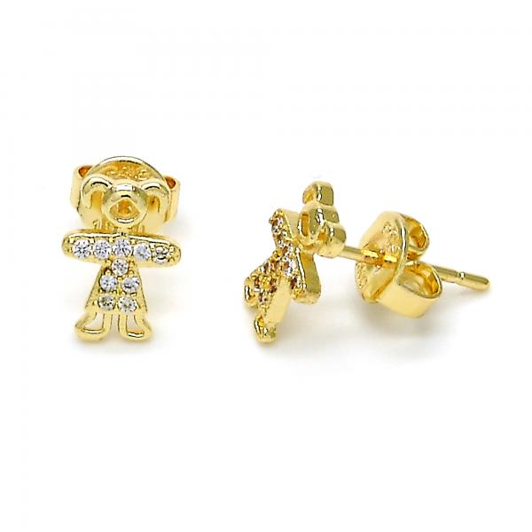 Gold Layered 02.156.0099 Stud Earring, Little Girl Design, with White Micro Pave, Polished Finish, Golden Tone