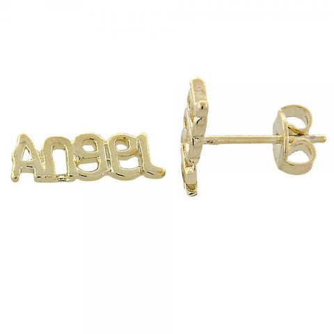 Gold Layered 02.94.0051 Stud Earring, Angel Design, Polished Finish, Golden Tone
