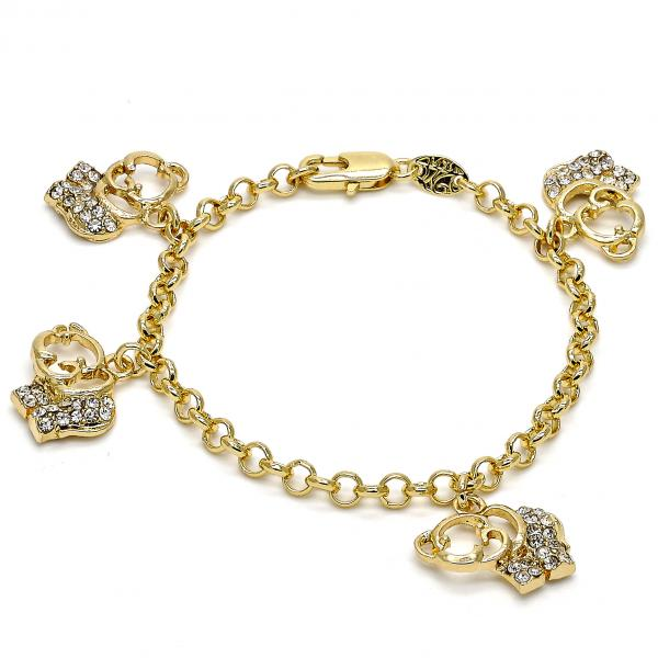 Gold Layered 03.63.1356.06 Charm Bracelet, Elephant and Rolo Design, with White Crystal, Polished Finish, Golden Tone
