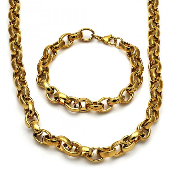 Stainless Steel 06.289.0006 Necklace and Bracelet, Rolo Design, Polished Finish, Golden Tone