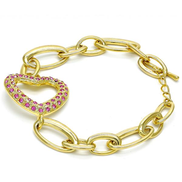 Gold Layered 03.59.0056.08 Fancy Bracelet, Heart Design, with Rhodolite Crystal, Polished Finish, Golden Tone