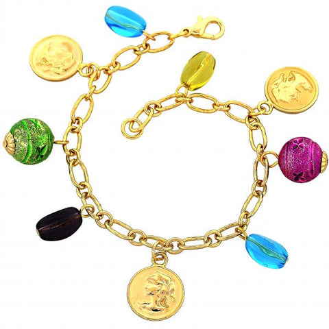 Gold Layered 03.91.0043 Charm Bracelet, Madonna and Ball Design, with Blue Topaz and Amethyst Opal, Polished Finish, Golden Tone