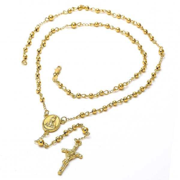 Gold Layered 5.204.003.1.24 Medium Rosary, Altagracia and Crucifix Design, Polished Finish, Golden Tone