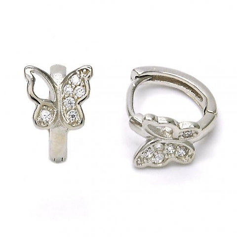 Sterling Silver 02.175.0082.15 Huggie Hoop, Butterfly Design, with White Micro Pave, Polished Finish, Rhodium Tone