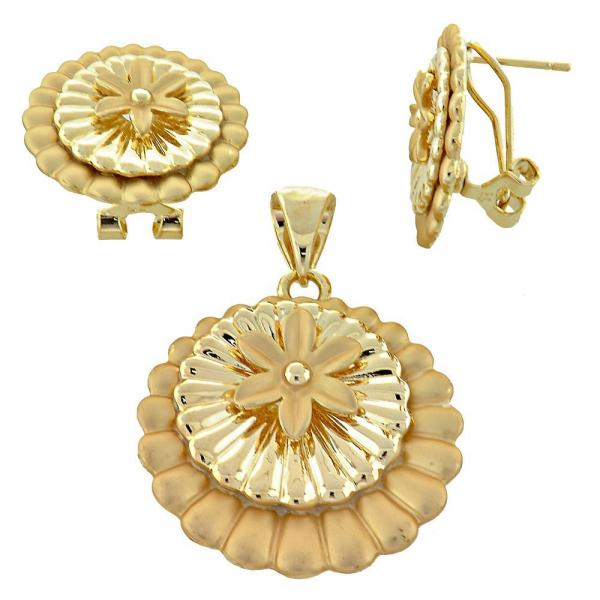Gold Layered 5.051.008 Earring and Pendant Adult Set, Flower Design, Golden Tone