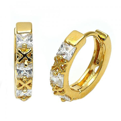 Gold Layered 097.032 Huggie Hoop, Hugs and Kisses Design, with White Cubic Zirconia, Polished Finish, Golden Tone